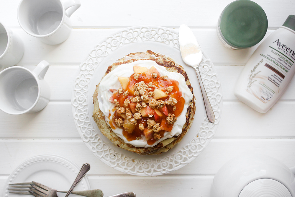 Apricot and Vanilla Yogurt Crepe Cake with Honey Oats